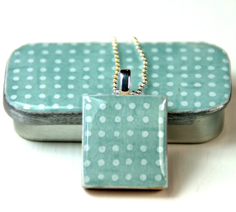 A Scrabble Tile Pendant and Teeny Tiny Tin Sea Glass -  Blue