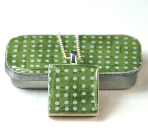 A Scrabble Tile Pendant and Teeny Tiny Tin Sea Glass -  Green