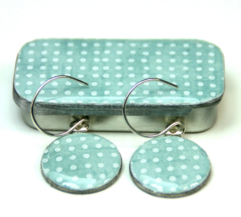 Sixpence Earrings and Teeny Tiny Tin Sea Glass Blue