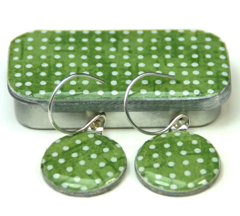 Sixpence Earrings and Teeny Tiny Tin Sea Glass Green