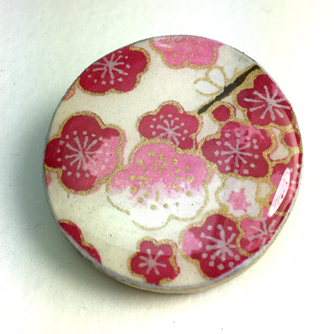 Draughts Piece Brooch - Sakura Fushia