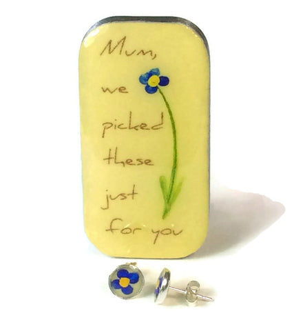 """Mum, We Picked These Just For You..."" Flower Studs & Teeny Tiny Tin"