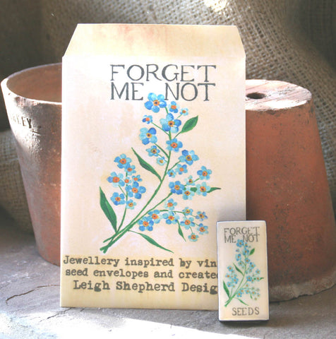 Seed Envelope Domino Piece Brooch - Forget Me Not