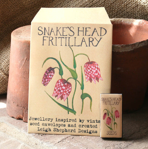 Seed Envelope Domino Piece Brooch - Fritillary