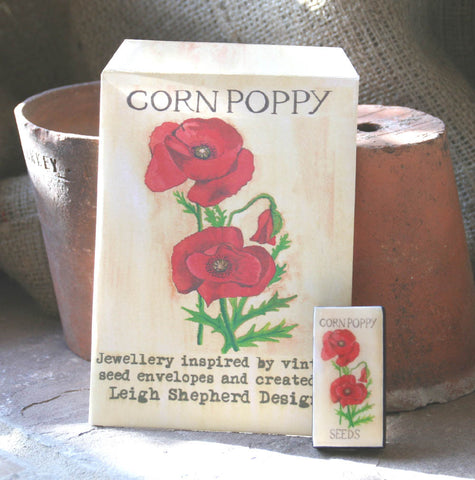 Seed Envelope Domino Piece Brooch - Poppy