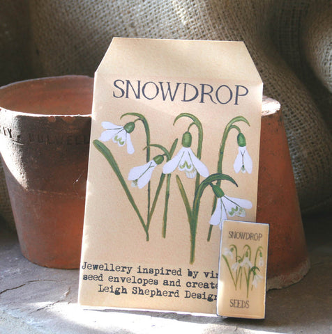 Seed Envelope Domino Piece Brooch - Snowdrop