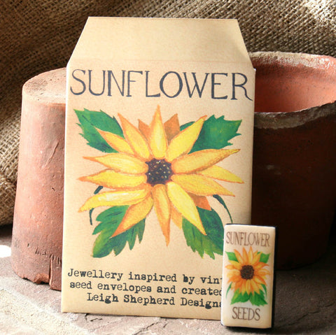 Seed Envelope Domino Piece Brooch - Sunflower