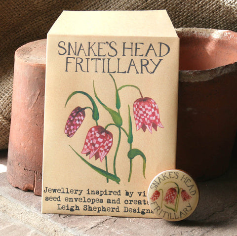 Seed Envelope Draughts Piece Brooch - Fritillary