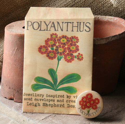 Seed Envelope Draughts Piece Brooch - Polyanthus