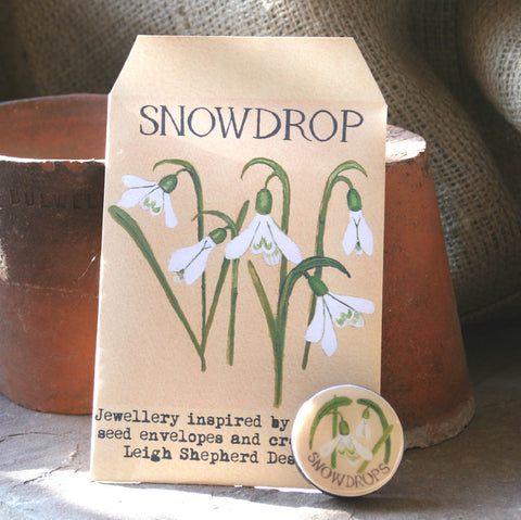 Seed Envelope Draughts Piece Brooch -  Snowdrop