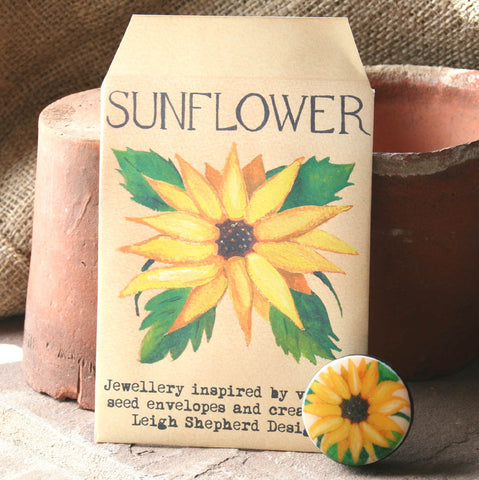 Seed Envelope Draughts Piece Brooch - Sunflower