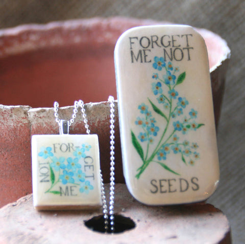 Seed Envelope Scrabble Tile Pendant and Teeny Tiny Tin Forget Me Not