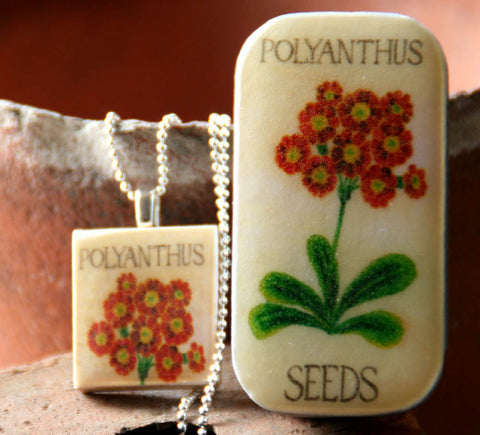 Seed Envelope Scrabble Tile Pendant and Teeny Tiny Tin Polyanthus