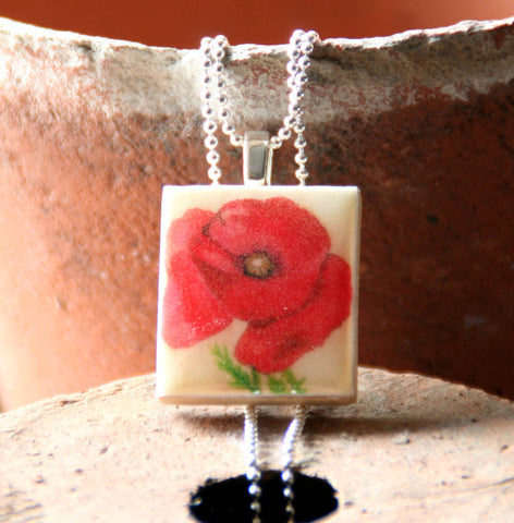 Seed Envelope Scrabble Tile Pendant and Teeny Tiny Tin Poppy
