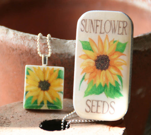 Seed Envelope Scrabble Tile Pendant and Teeny Tiny Tin Sunflower