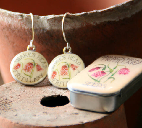 Seed Envelope Sixpence Earrings and Teeny Tiny Tin Fritillary