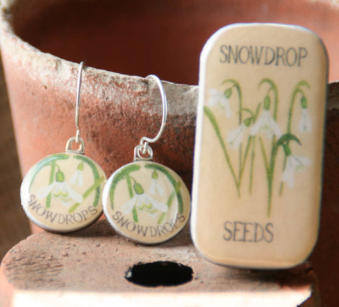 Seed Envelope Sixpence Earrings and Teeny Tiny Tin Snowdrop