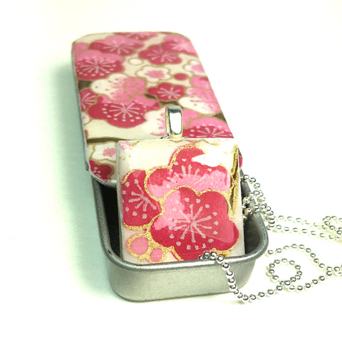 A Scrabble Tile Pendant and Teeny Tiny Tin Sakura Fushia