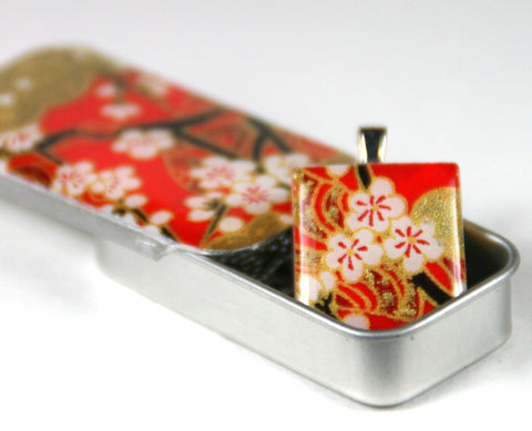 A Scrabble Tile Pendant and Teeny Tiny Tin Chiyo Red