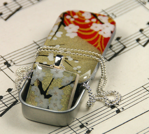 A Scrabble Tile Pendant and Teeny Tiny Tin Golden Blossom White