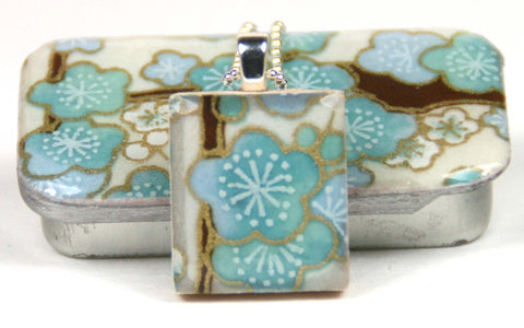 A Scrabble Tile Pendant and Teeny Tiny Tin Sakura Blue