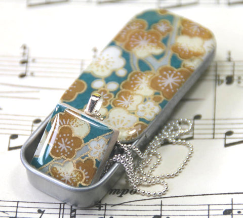 A Scrabble Tile Pendant and Teeny Tiny Tin Sakura Teal