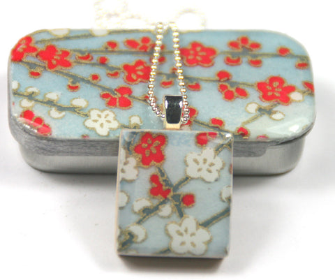 A Scrabble Tile Pendant and Teeny Tiny Tin Sky Blue Blossom