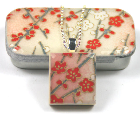 A Scrabble Tile Pendant and Teeny Tiny Tin Sunset Pink Blossom