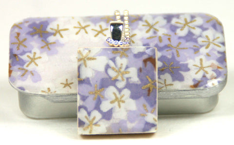 A Scrabble Tile Pendant and Teeny Tiny Tin Tiny Lilac Flowers