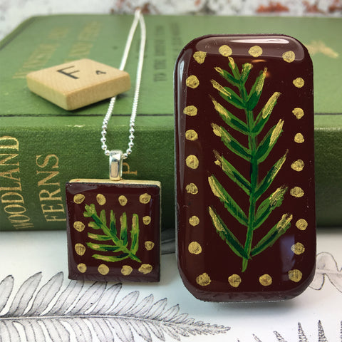 Woodlands Scrabble Tile Pendant and Teeny Tiny Tin Burgundy