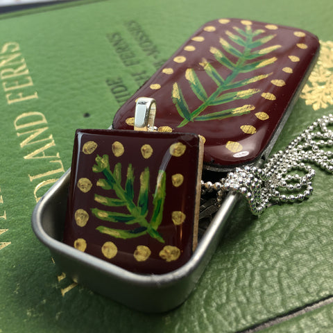 Painted Leaves Scrabble Tile Pendant and Teeny Tiny Tin Burgundy