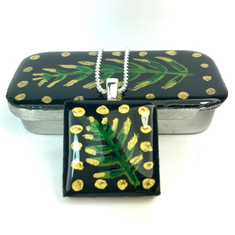 Painted Leaves Scrabble Tile Pendant and Teeny Tiny Tin Forest