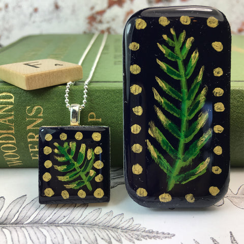 Painted Leaves Scrabble Tile Pendant and Teeny Tiny Tin Midnight