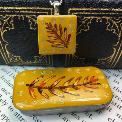 Woodlands Scrabble Tile Pendant and Teeny Tiny Tin Mustard