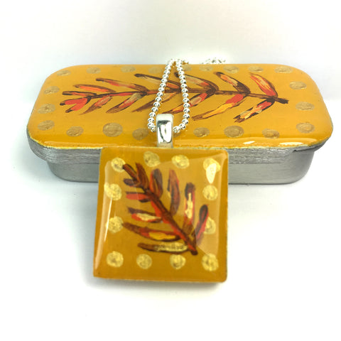Painted Leaves Scrabble Tile Pendant and Teeny Tiny Tin Mustard