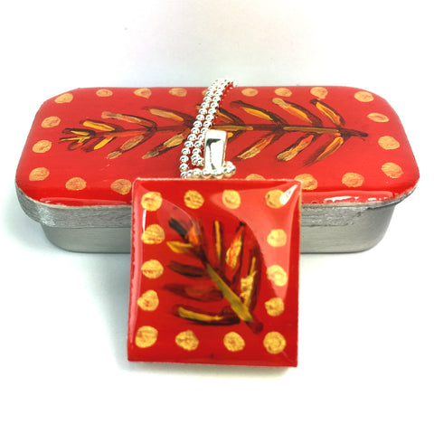 Painted Leaves Scrabble Tile Pendant and Teeny Tiny Tin Red
