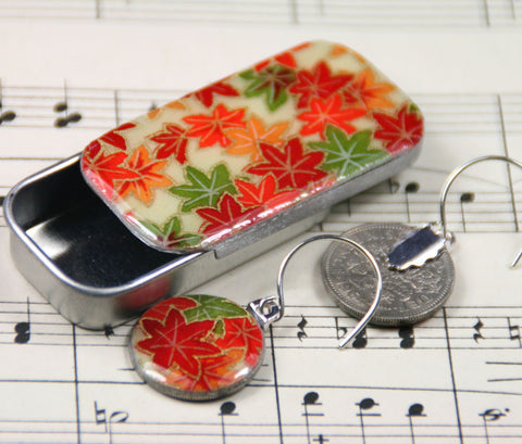 Sixpence Earrings and Teeny Tiny Tin Autumn Maple