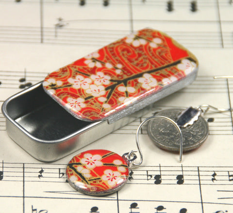 Sixpence Earrings and Teeny Tiny Tin Chiyo Red