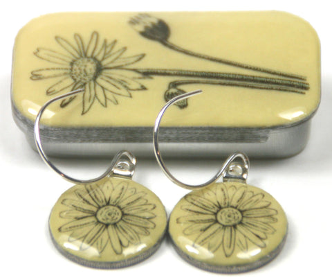 Cottage Garden Sixpence Earrings and Teeny Tiny Tin - Daisy