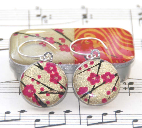 Sixpence Earrings and Teeny Tiny Tin Golden Blossom Pink