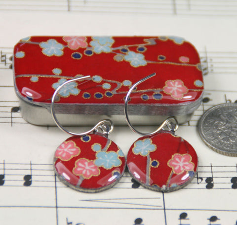Sixpence Earrings and Teeny Tiny Tin Plum