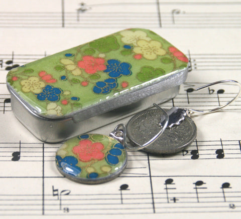 Sixpence Earrings and Teeny Tiny Tin Posy Green