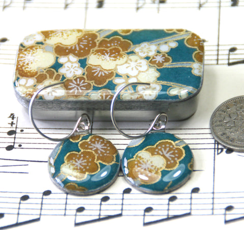 Sixpence Earrings and Teeny Tiny Tin Sakura Teal