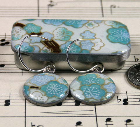 Sixpence Earrings and Teeny Tiny Tin Sakura Blue