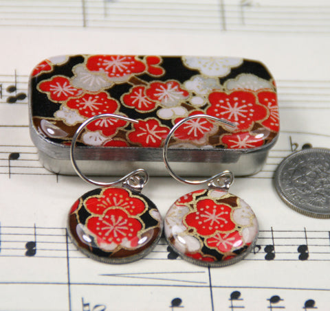 Sixpence Earrings and Teeny Tiny Tin Sakura Cherry