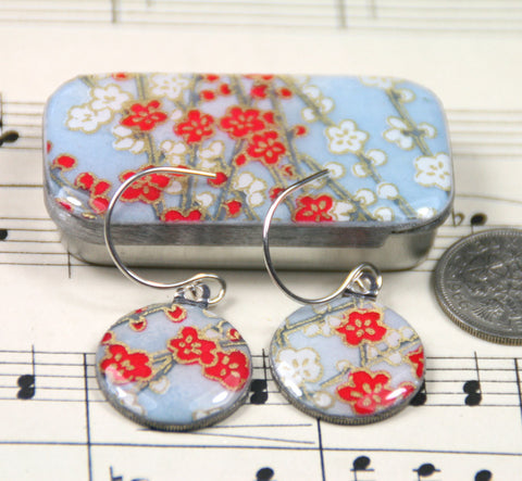 Sixpence Earrings and Teeny Tiny Tin Sky Blue Blossom
