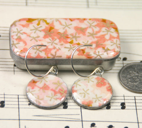Sixpence Earrings and Teeny Tiny Tin Tiny Pink Flowers
