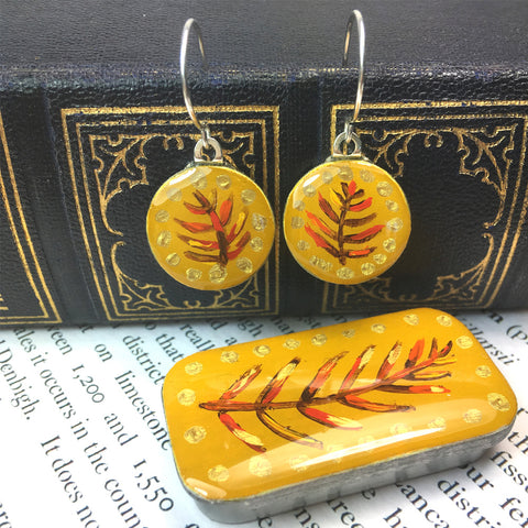 Painted Leaves Sixpence Earrings and Teeny Tiny Tin - Mustard