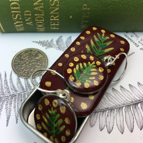 Painted Leaves Sixpence Earrings and Teeny Tiny Tin - Burgundy