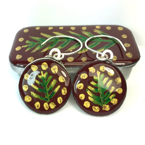 Woodlands Sixpence Earrings and Teeny Tiny Tin - Burgundy